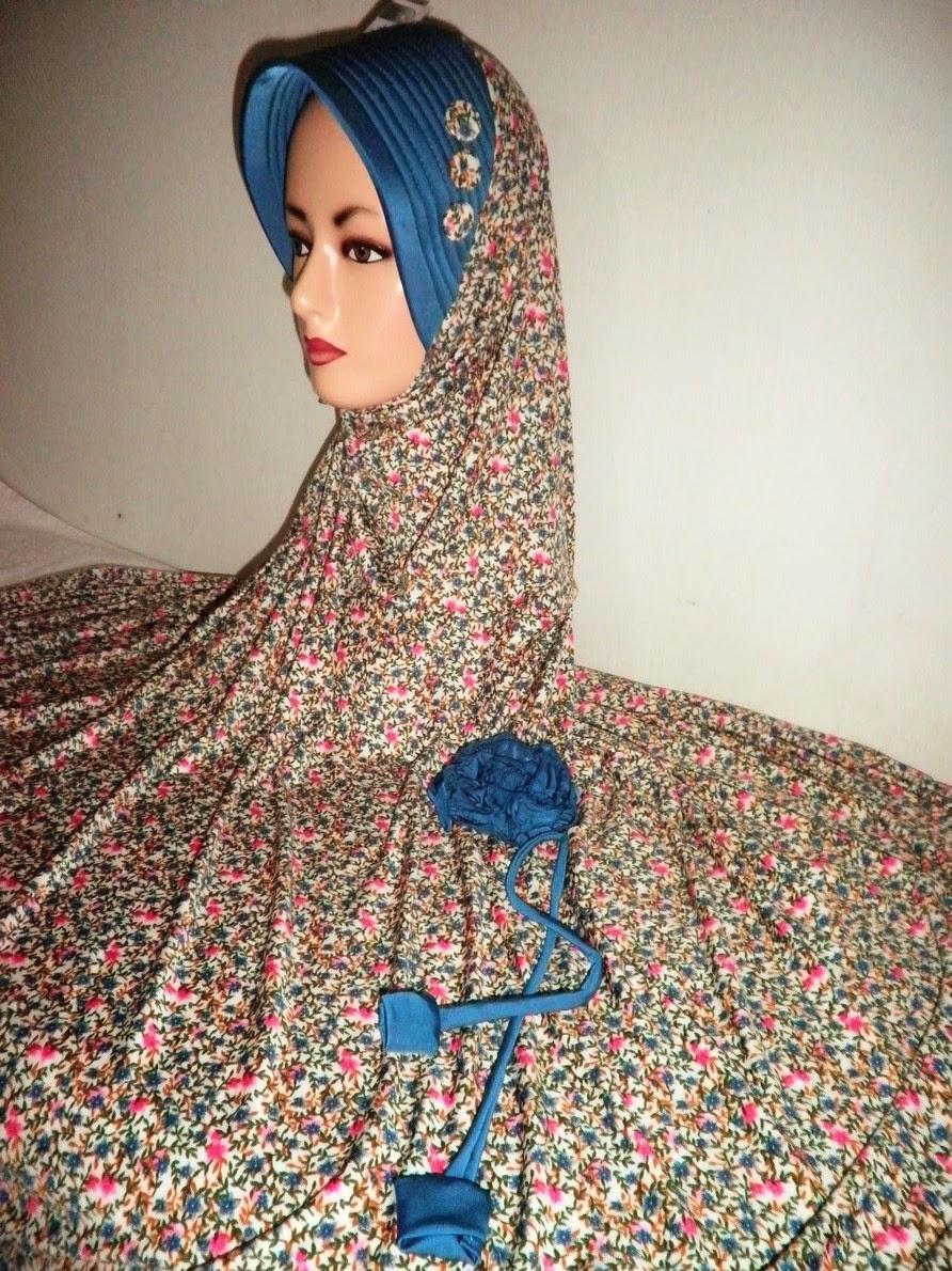 Jilbab Jersey Kombinasi Bunga Ukuran Jumbo Khisan Fashion Jilbab