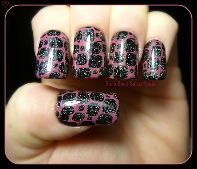 Mani using Sally Hansen Rose Run with China Glaze Fairy Dust and a Cheeky Jumbo European Romance Plate