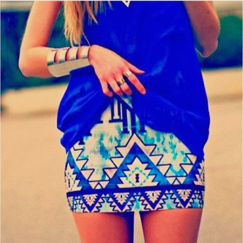 Colorful Skirt With Dark Blue Sleeveless Shirt