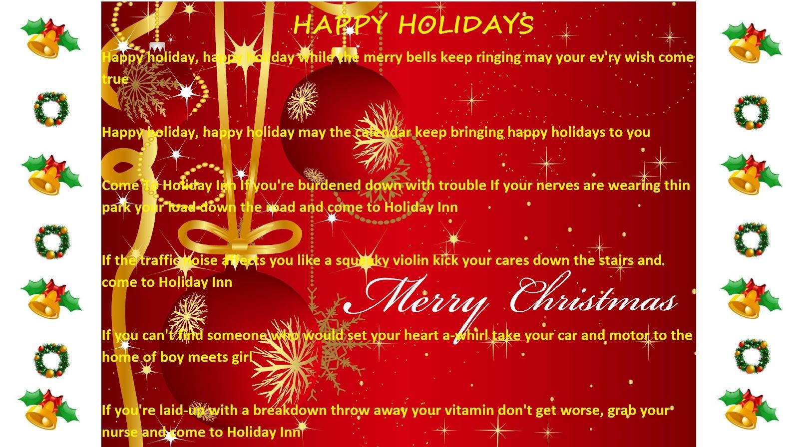 Lyrics containing the term: happy holidays