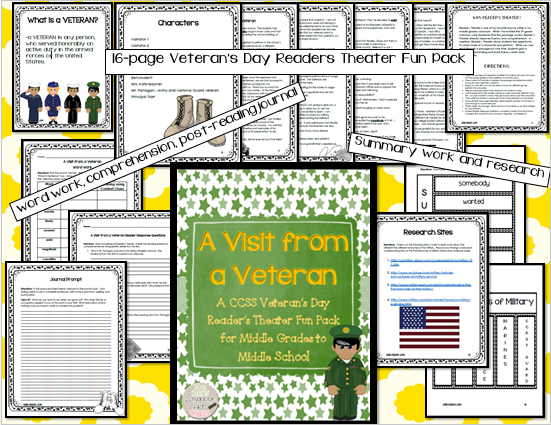 http://www.teacherspayteachers.com/Product/Veterans-Day-Readers-Theater-CCSS-Fun-Pack-for-Middle-Grades-to-Middle-School-1528839