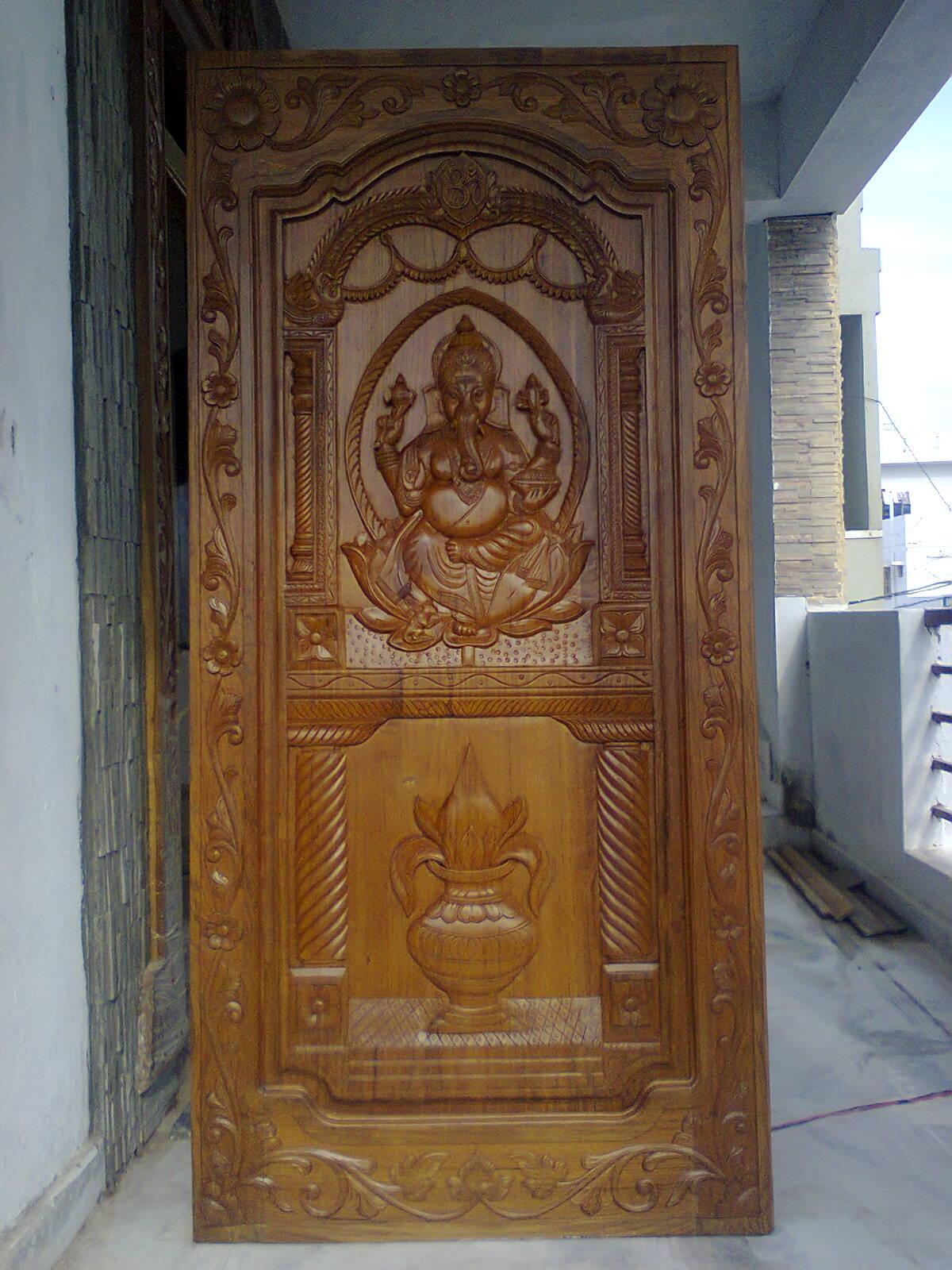 Interior Home Designs Wooden Teak Door With Ganapathi Papa