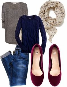 navy and cranberry