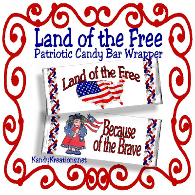 Land of the Free Patriotic Candy Bar Wrapper