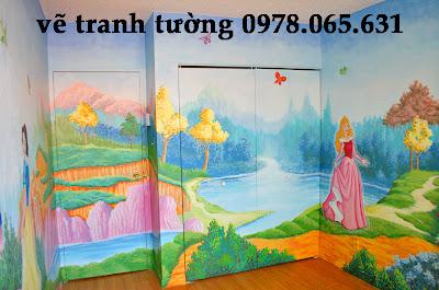 vẽ tranh tường phòng trẻ,vẽ tranh tường