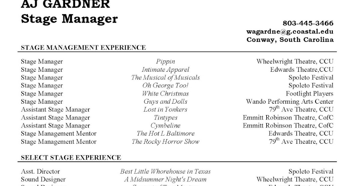 aj gardner  theatre technician  stage manager resume