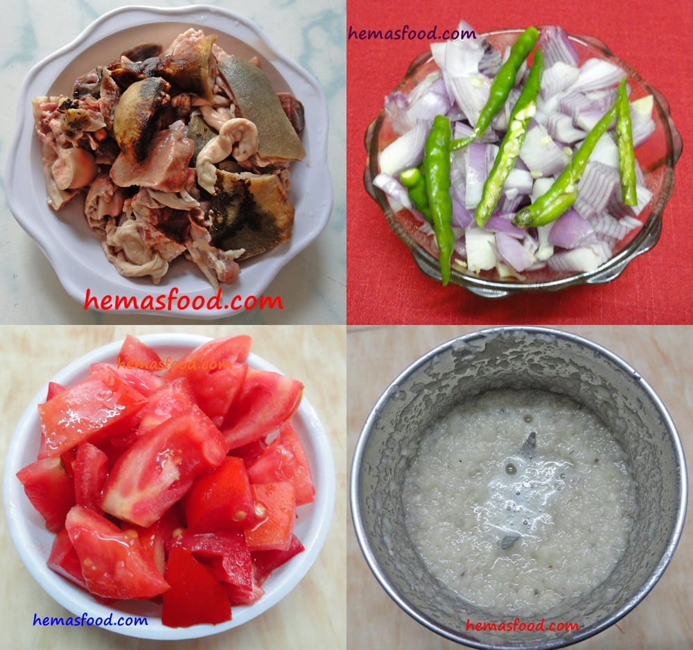 Goat Head Meat 250 Gm Onion 3 Large Sized 2 Cut Into Pieces And 1 For Paste Tomato Small Green Chillies Chopped