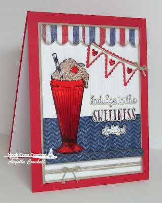 North Coast Creations Stamp set: Ice Cream Shoppe, Our Daily Bread Designs Patriotic Paper Collection, Our Daily Bread Designs Custom Dies: Clouds and Raindrops, Custom Pennant Row, Window Shutter and Awning