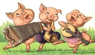 Dibujo de los 3 chanchitos o tres cerditos bailando y cantando