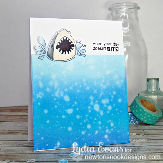Hope Your Day Doesn't Bite Card by Lydia Evans | Shark Bites Stamp set by Newton's Nook Designs #newtonsnook