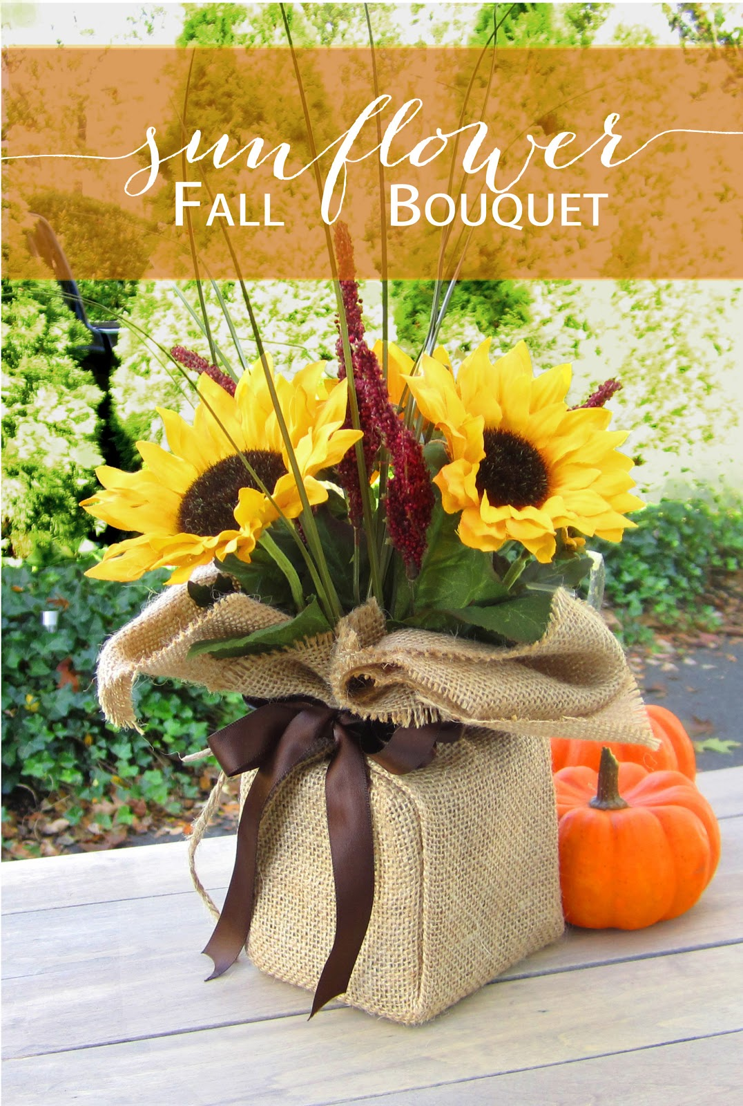 365 Designs Sunflower Autumn Bouquet Wrapped In Burlap