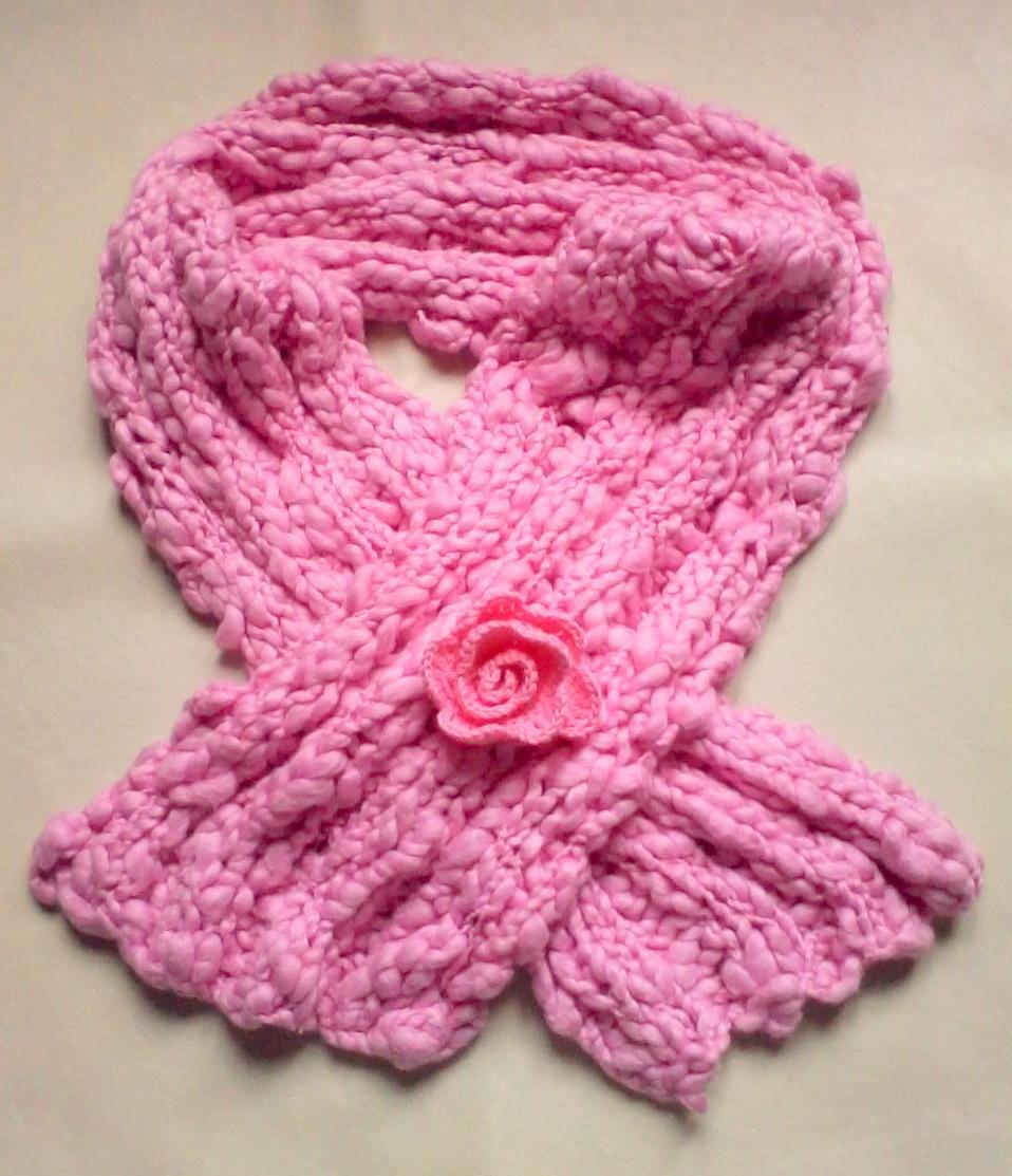 Bufandas cortas tejidas a dos agujas en flamé de algodón. Si te