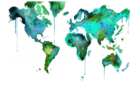 Inspired whims watercolor art i heart watercolor world map no 6 print gumiabroncs Gallery