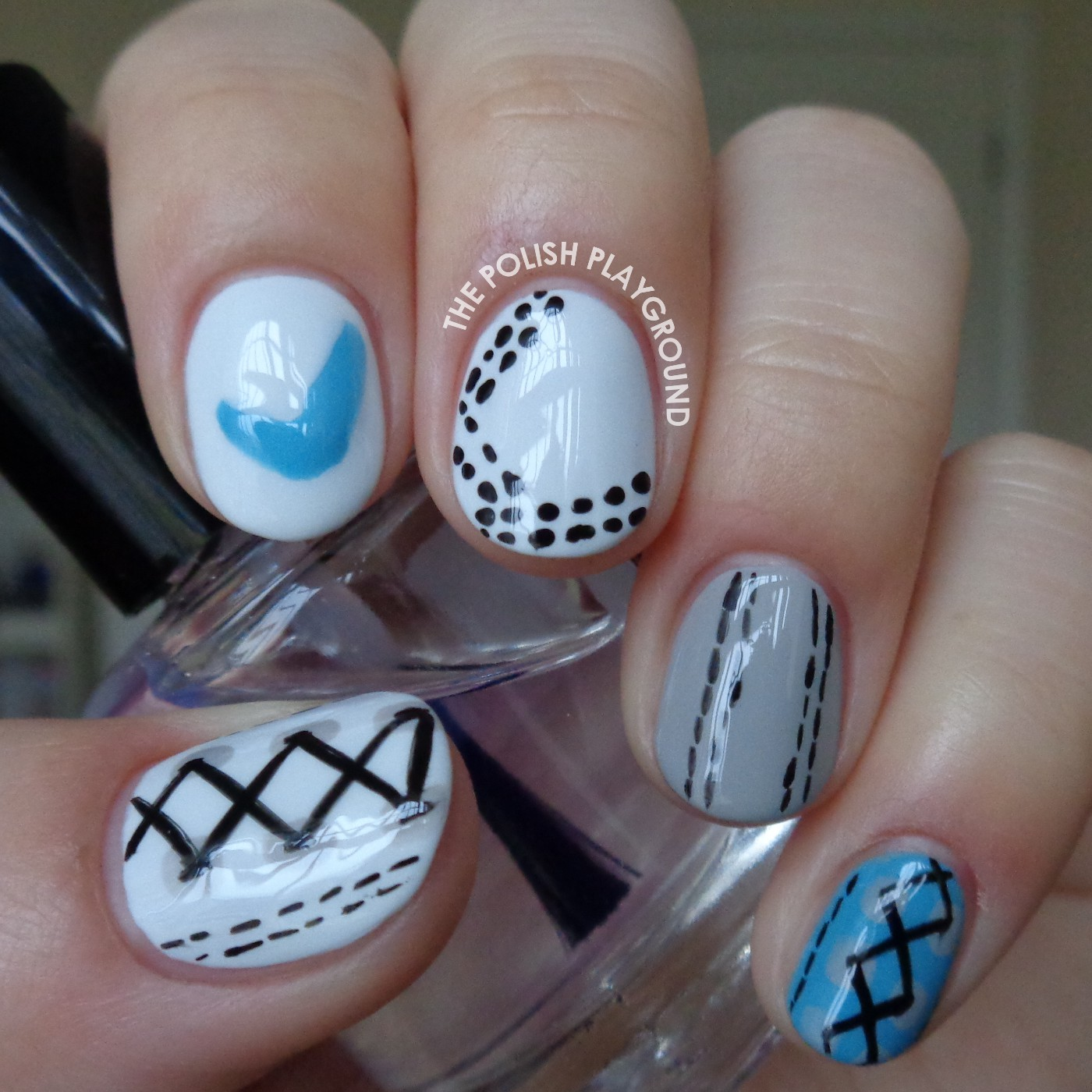 White, Grey, and Blue Nike Inspired Shoe Nail Art