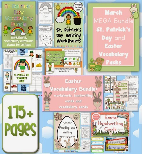 March MEGA BUNDLE St. Patrick's Day and Easter Vocabulary Packs