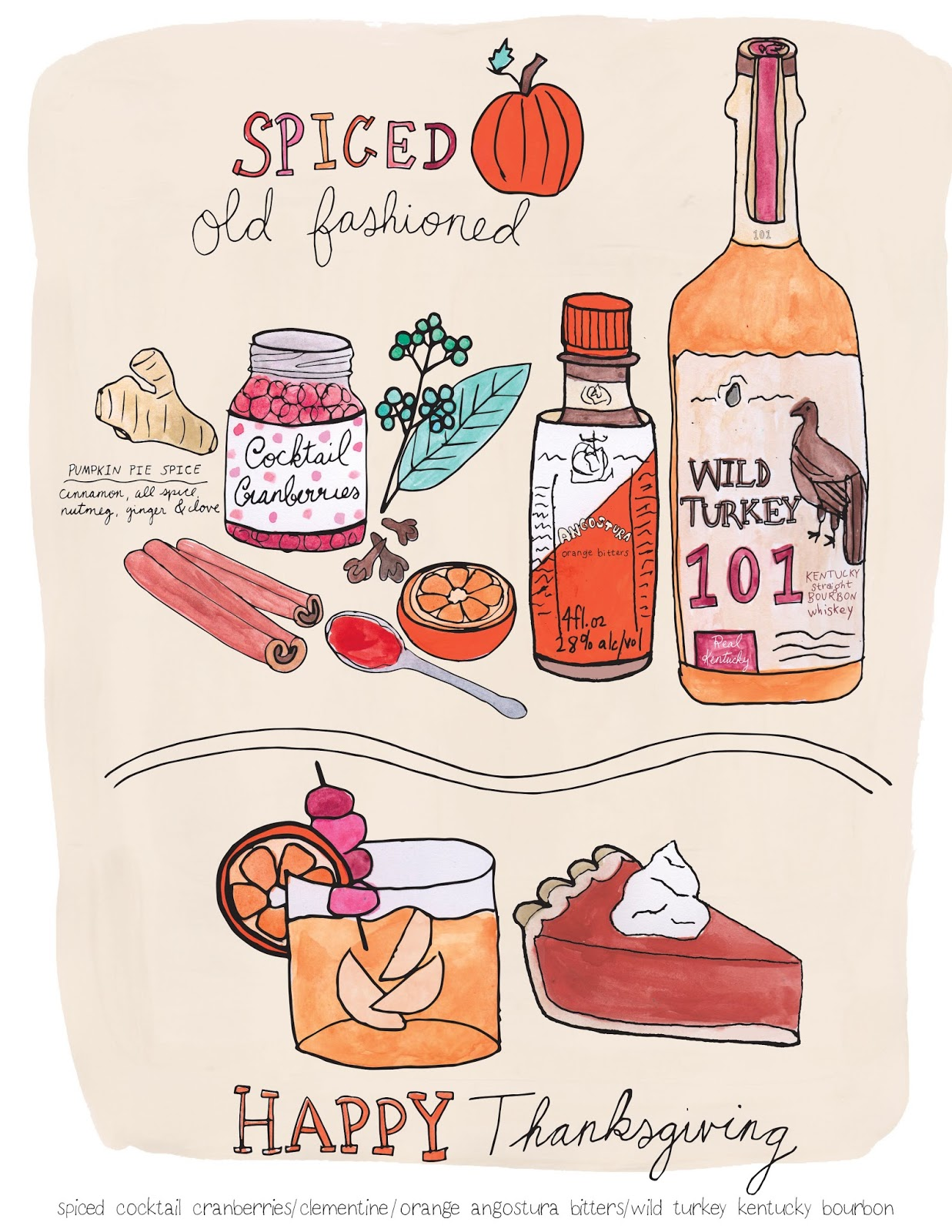 Thanksgiving Spiced Old Fashioned Cocktail Illustration