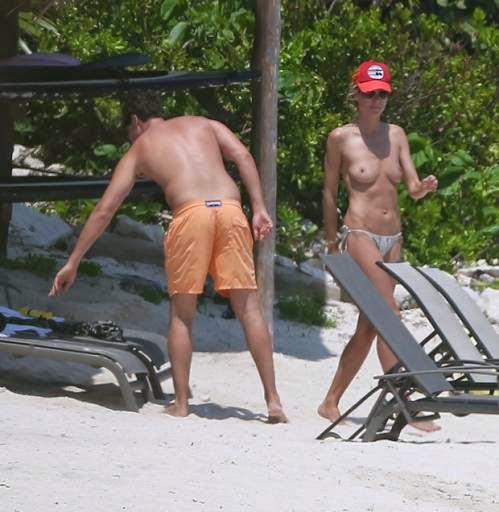 Fotos de Heidi Klum em Topless na praia