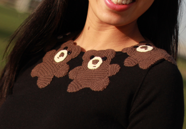 teddy bear collar sweater embellished animal sweater trend