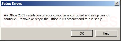 "An Office 2003 installation on your computer is corrupted and setup cannot continue"" - How to byass this error..."