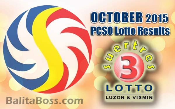 October 2015 Suertres 3-Digit Game PCSO Lotto Results