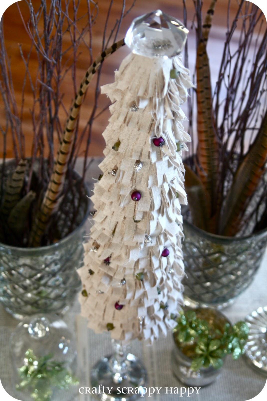 shabby chic ruffled tree topiary featuring jaime lyn at crafty scrappy happy handmade holidays project no 24 - Handmade Shabby Chic Christmas Decorations