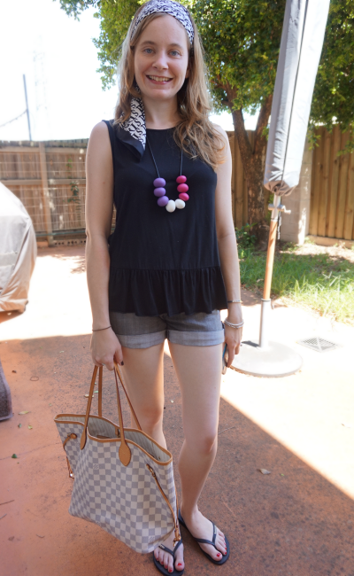 printed headscarf peplum tank denim shorts LV neverfull beach outfit