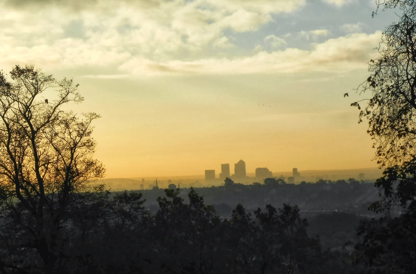 Misty Morning Skyline View Of London