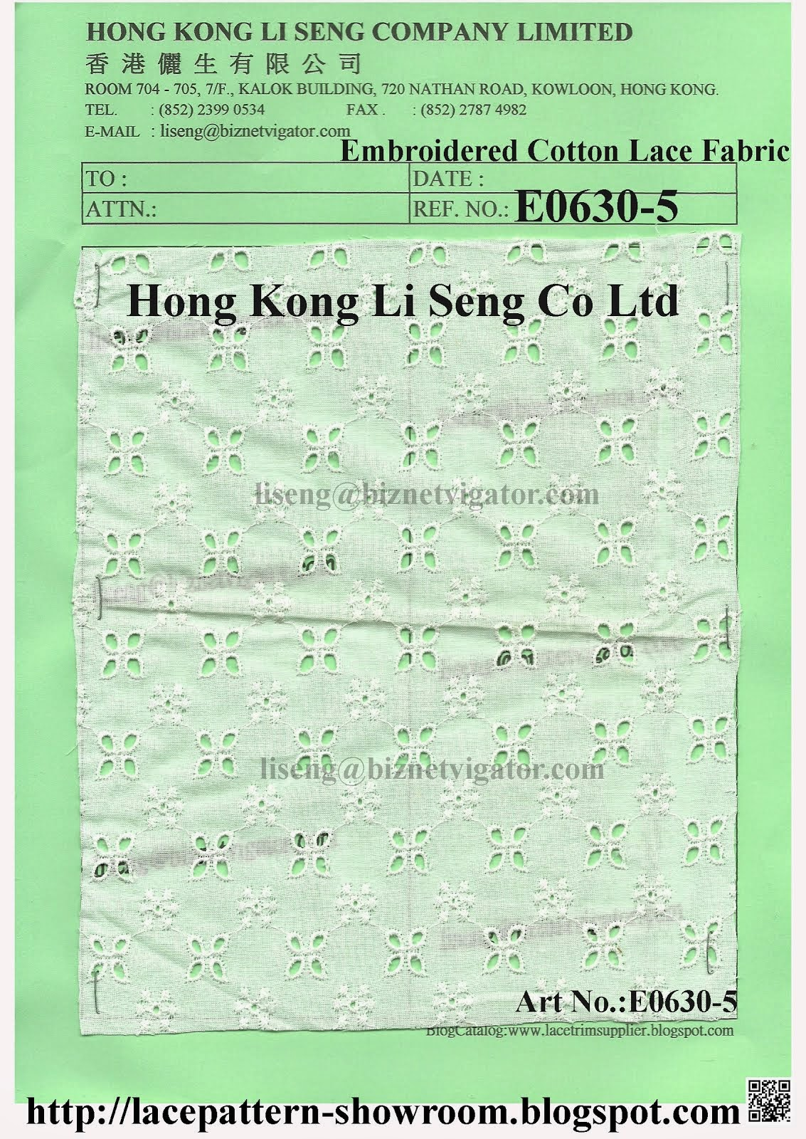 Embroidered Cotton Lace Fabric Manufacturer Wholesaler Supplier - Hong Kong Li Seng Co Ltd