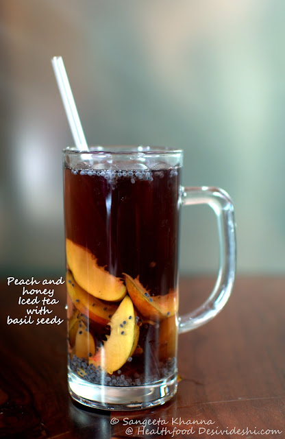 peach and basil seeds iced tea