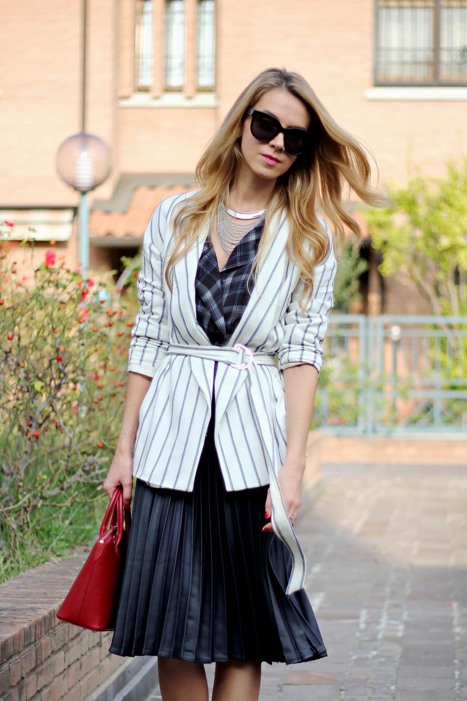 pleated midi skirt, striped blazer, red mini bag, tartan blouse, fall outfit