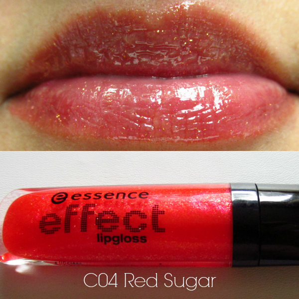 essence effect lipgloss c04 red sugar swatch
