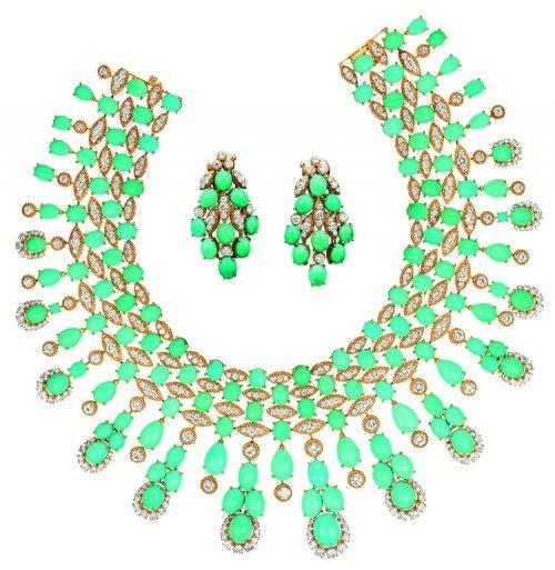 Collier et paire de motifs d'oreilles Panka, Paris, 1973 Or, turquoises taille cabochon, diamants taille brillant