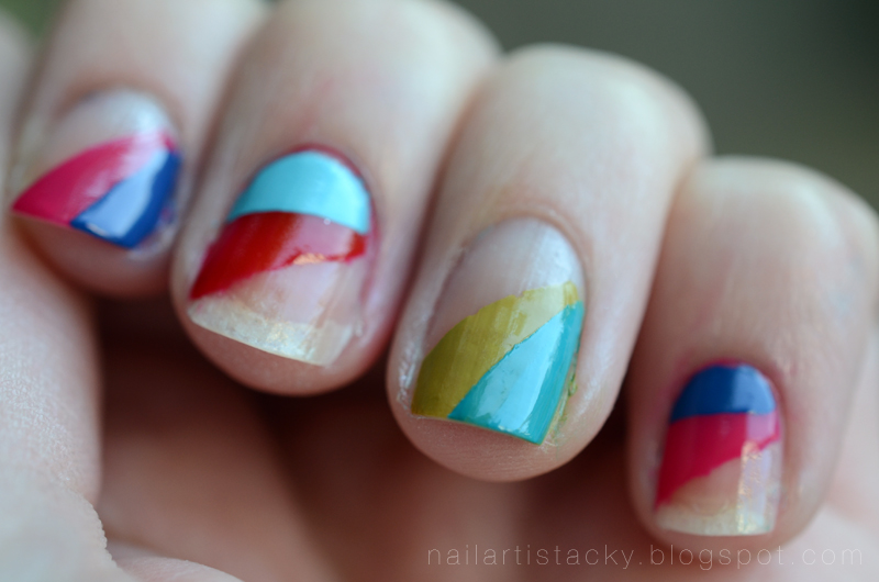 Rainbow Triangle Nail Art - modern - cool nail art - rainbow nails