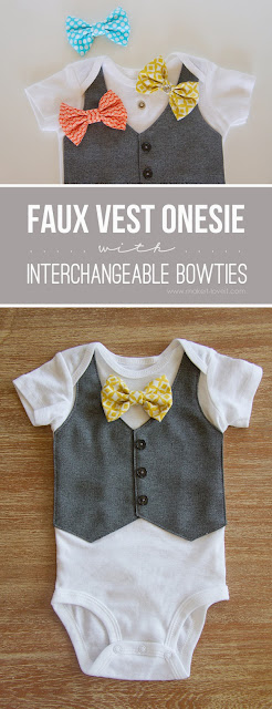 DIY Onsie with bowtie and faux vest sewing