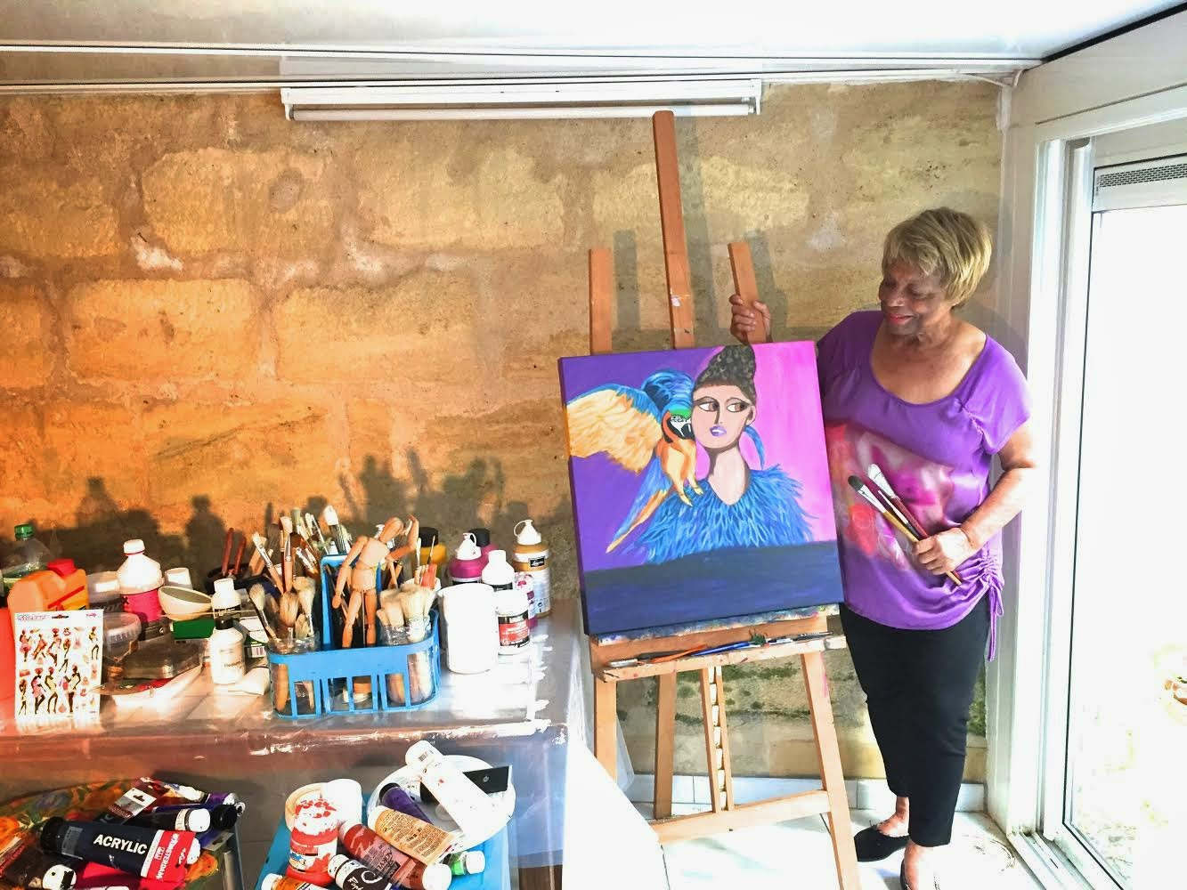 artist Shirley Monestier in her studio in Bordeaux, France