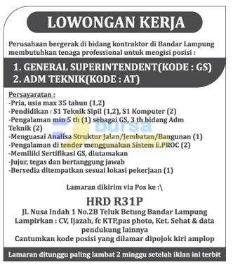 Lowongan Kerja Lampung PT. R31P Oktober 2014