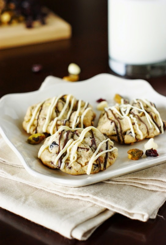 Dark and White Chocolate Cranberry Pistachio Cookies