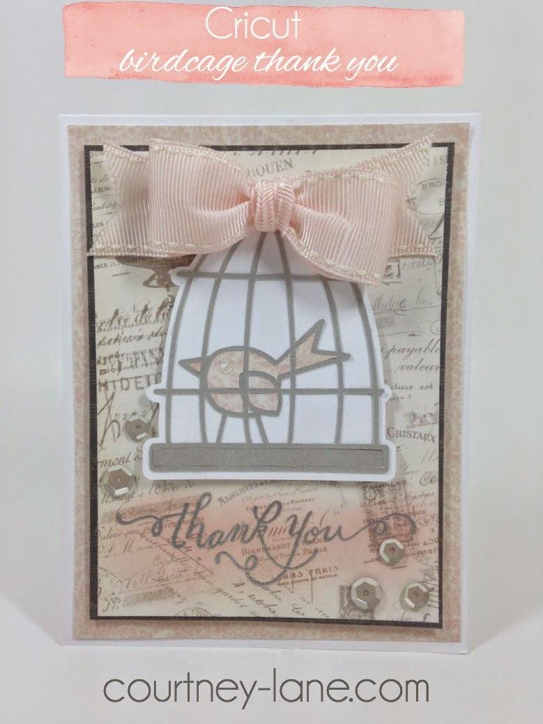 Cricut Birdcage thank you card