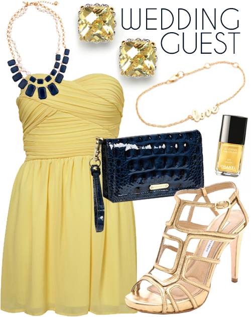 Wedding guest outfits yellow dresses blue shoes wedding for Yellow wedding guest dress