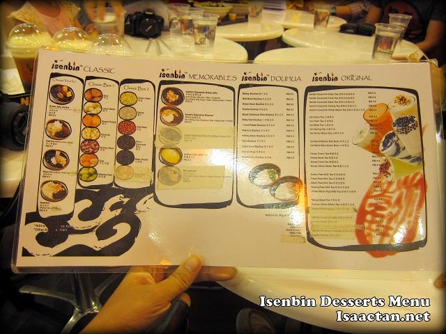 Isenbin Dessert Restaurant menu