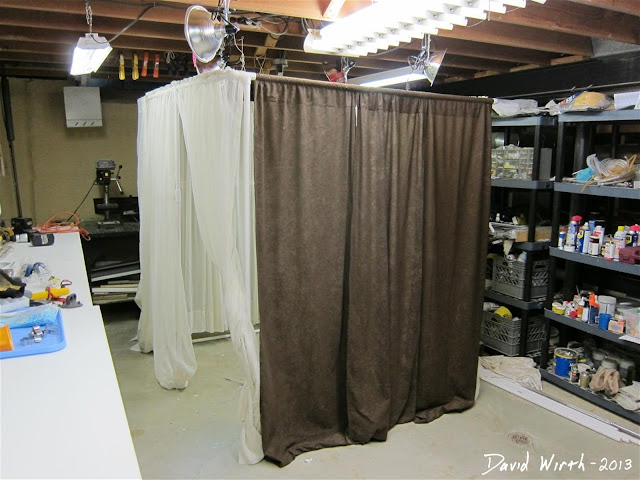 final finished photo booth with curtains, how to, build, make