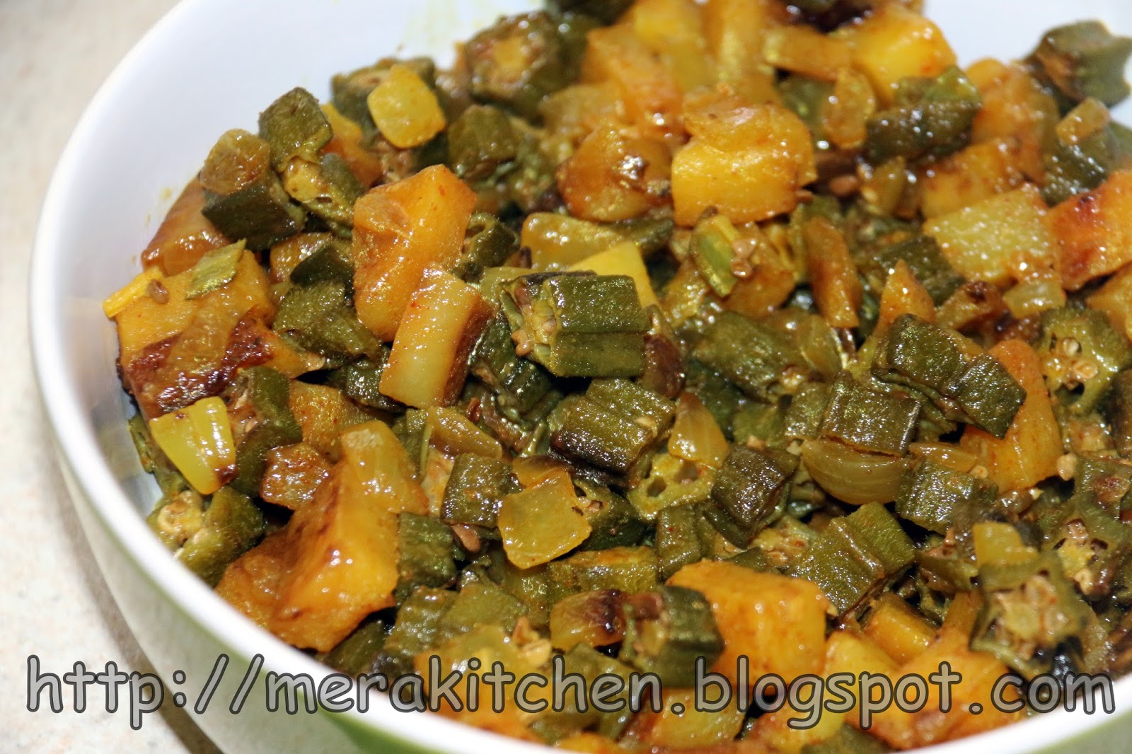 Merakitchen pyazwali alu bhindi orka onions and for M kitchen world chop wash