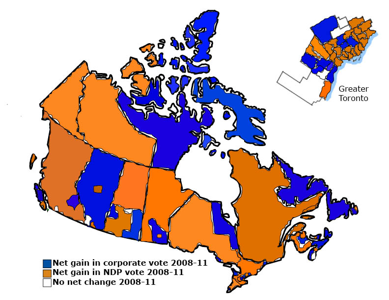 Your Hearts On The Left Canadas Real Electoral Map A Surge For - New map of canada after us election