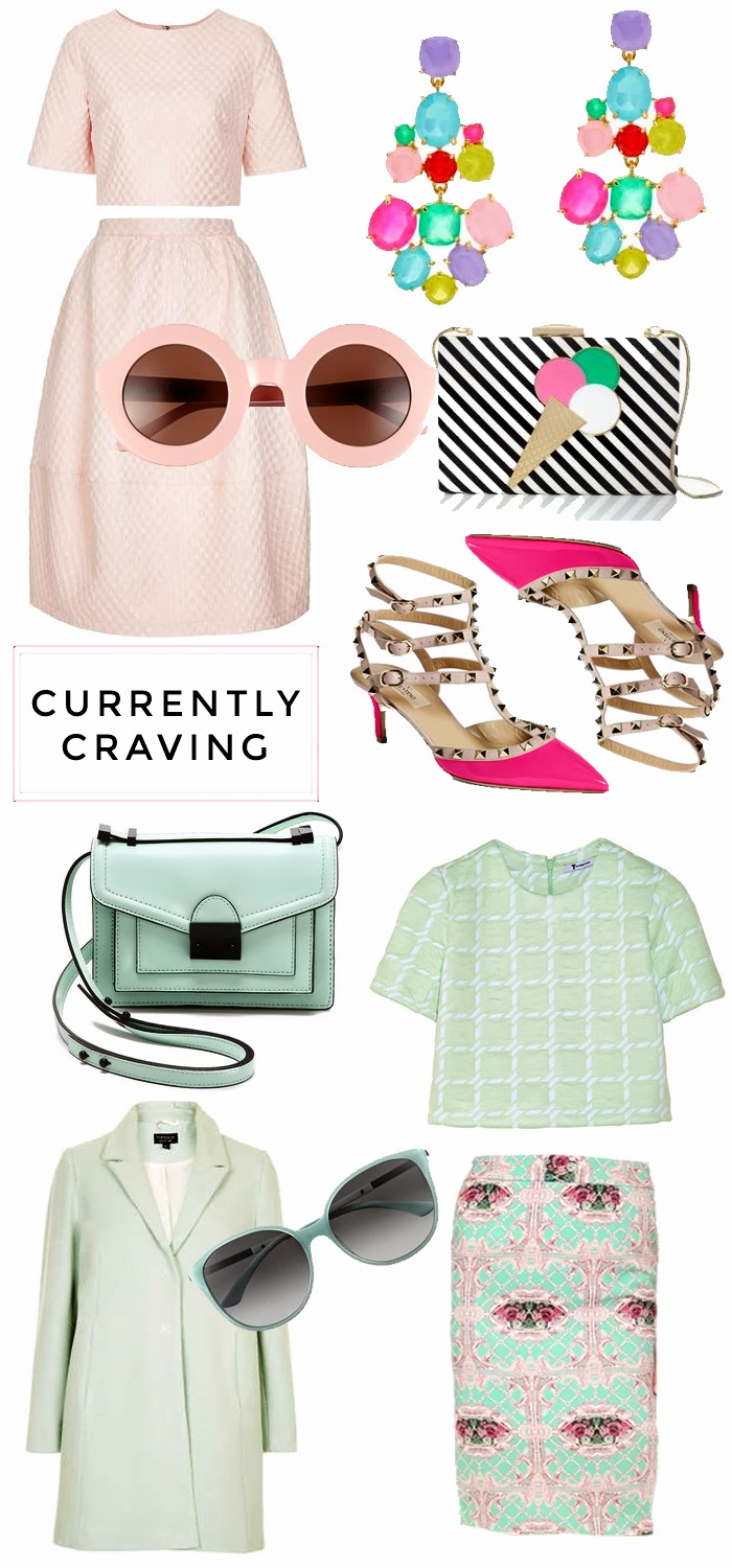 Spring, Pastels, Pink, Wish List, Want, Fashion Blog, Fashion Blogger, Darling Desires, Dash of Darling, Darling, Mint, Topshop, Mint Coat, Mint Skirt, Mint and Pink, Widfox Sunglasses, Pink Wildfox Sunglasses, Loeffler Randall, Loeffler Randall Mint Purse, Crop Top, Pink Crop Top, Pink Earrings, Pink Rockstuds, Pink Valentino, Pink Valentino Rockstuds, Valentino, Valentino Rockstuds, Ted Baker Coat, Multi Color Coat, Elizabeth and James Backpack, Elizabeth and James Satchel, Pink Backpack, MSGM Floral, MSGM Spring 2014, Pink Alexander Wang, Alexander Wang, Pink Coat, Hot Pink Coat, Vivid Snapdragon, Pink Dress, Kate Spade Pink Dress, Stripe Clutch, Kate Spade Clutch, Kate Spade Ice Cream Clutch, Mint Cake Stand, Cake Stand,