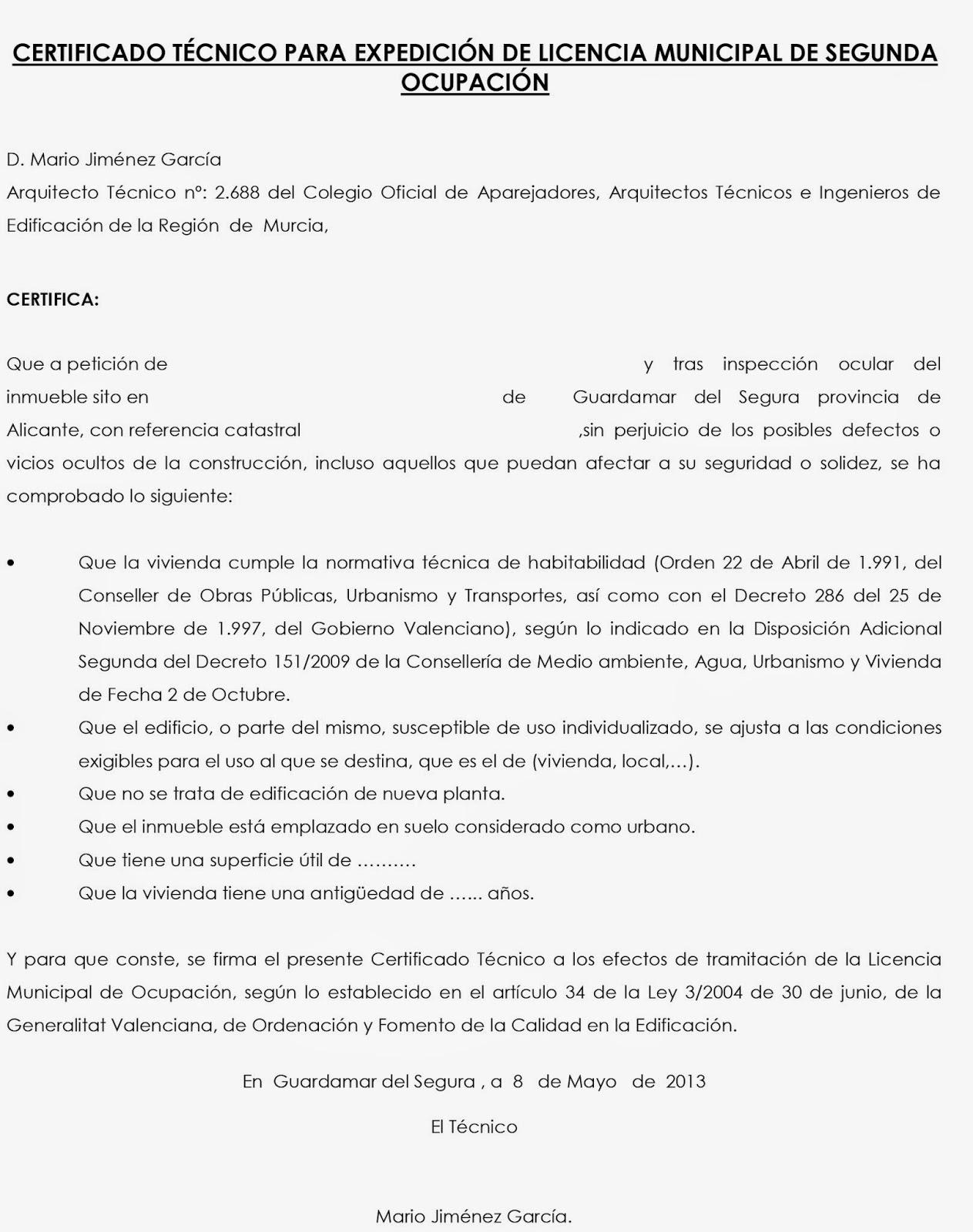 Mjg ingenier a y arquitectura certificado t cnico para - Licencia de habitabilidad ...