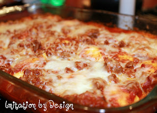 Baked Ravioli is a quick way to make lasagna.