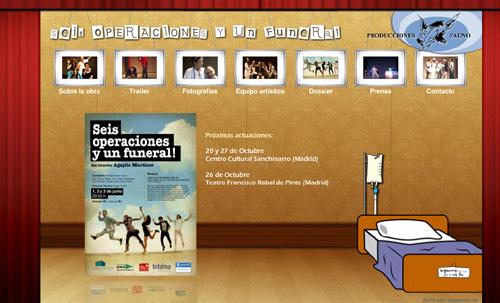 página web de Seis operaciones y un funeral, una comedia teatral de Fauno Producciones