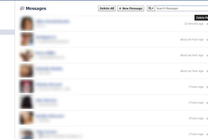 how to delete all facebook messages at once 2013