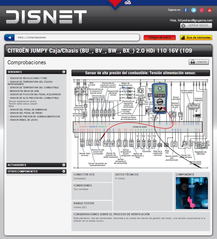 Comprobación de la tensión de alimentación del sensor (información extraída de www.dis-net.com)