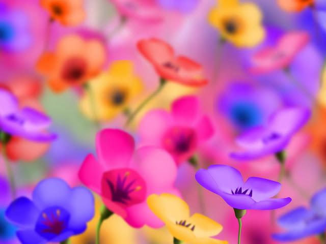 brightly colored illustration of tiny flowers